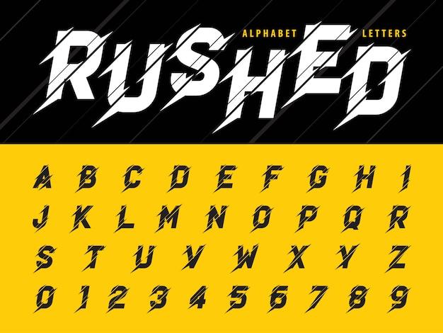 Vector de glitch letras y números del alfabeto moderno