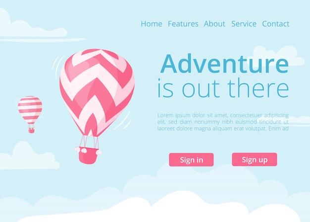 Vector de globo de aire caliente de sitio web de reserva en línea