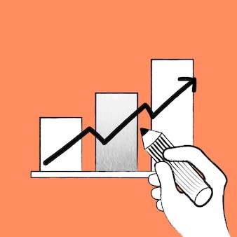 Vector de gráfico de barras para el crecimiento empresarial doodle ilustración naranja
