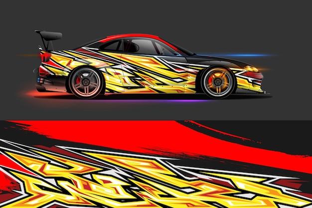 Vector gráfico de librea de coche con diseño de forma abstracta de carreras