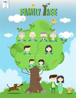 Vector de gráficos de información de plantilla de árbol familiar / ilustración