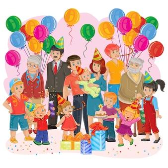 Vector gran familia feliz juntos celebrar un cumpleaños con regalos, globos y pastel
