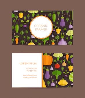 Vector la granja orgánica de las frutas y verduras, plantilla sana de la tarjeta de visita de la comida. ilustración de cartel vegano