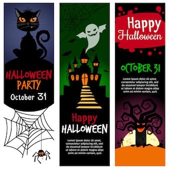 Vector de halloween fiesta invitación banner conjunto