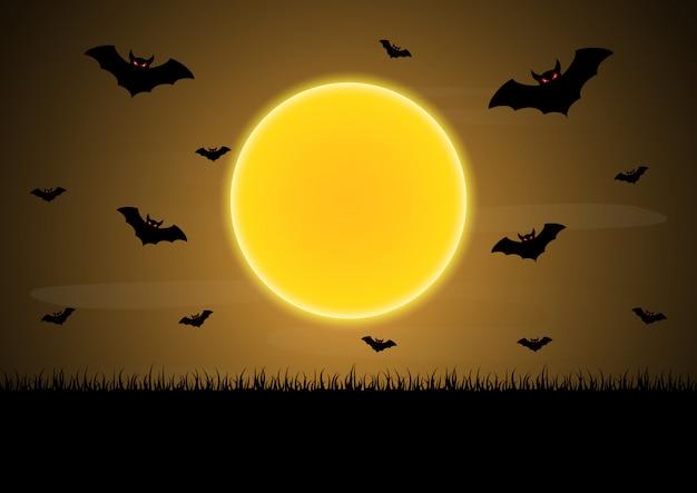 Vector de halloween luna murciélago