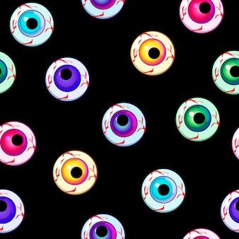 Vector halloween ojos iconos arte de patrones sin fisuras