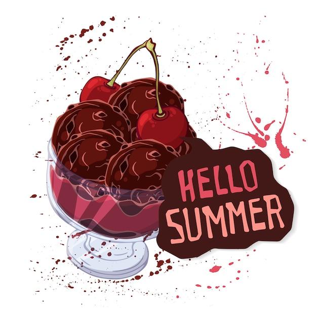 Vector el helado en el tazón de fuente adornado con las bayas, el chocolate o las tuercas.