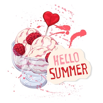 Vector helado en vaso decorado con frambuesas