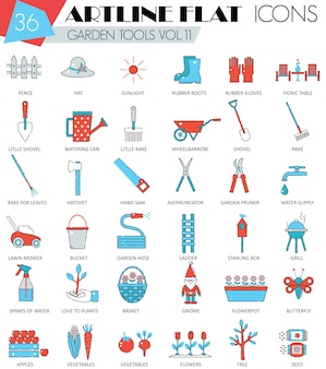 Vector de herramientas de jardín ultra moderno esquema artline línea iconos para web y aplicaciones.