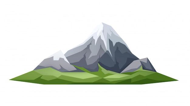 Vector hielo pico montaña verde prado en las estribaciones