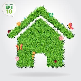Vector hierba creativa eco concepto de icono de la casa