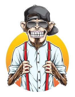 Vector de hipster de mono
