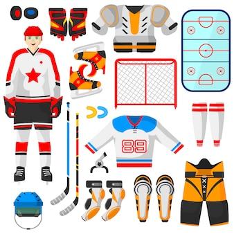 Vector de hockey uniforme y accesorio en estilo plano.