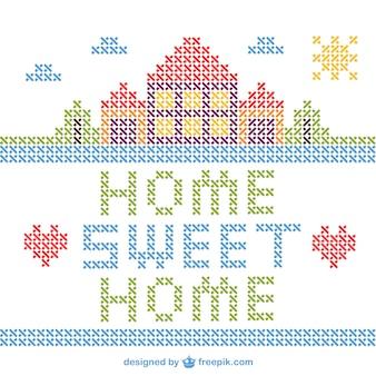 Vector de hogar, dulce hogar de punto de cruz