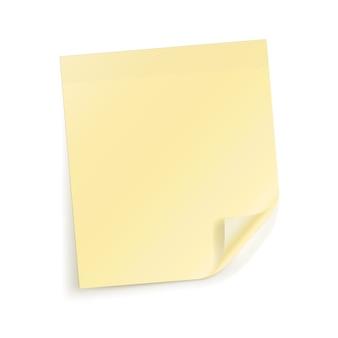 Vector hoja adhesiva amarilla para notas en blanco