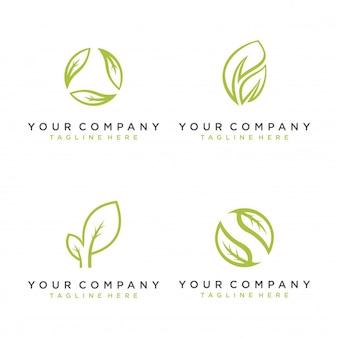 Vector de hoja set logo de icono