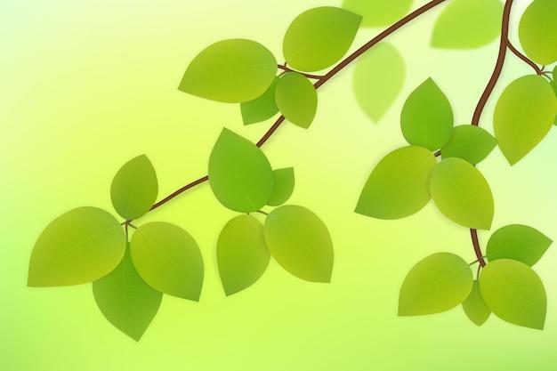 Vector de hojas verdes en la rama de un árbol aislado sobre fondo de verano