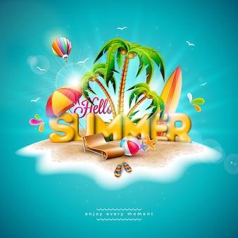 Vector hola ilustración de vacaciones de verano con tipografía 3d