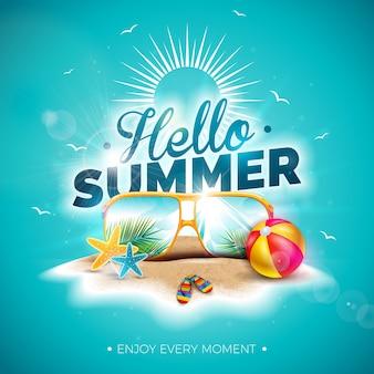 Vector hola ilustración de vacaciones de verano con tipografía letra y gafas de sol