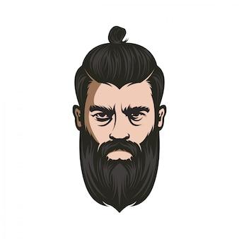 Vector de hombre barbudo enojado