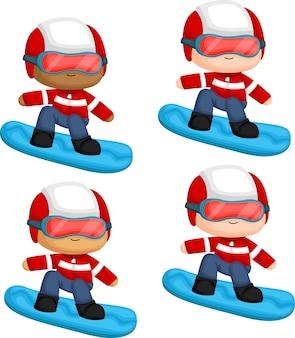 Un vector de un hombre haciendo snowboard con múltiples opciones de tonos de piel