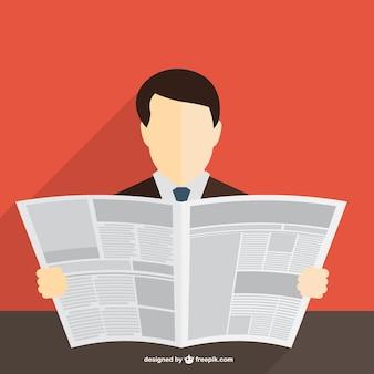 Vector hombre leyendo el periódico