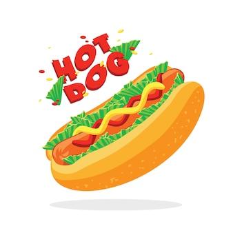 Vector de hot dog flotante