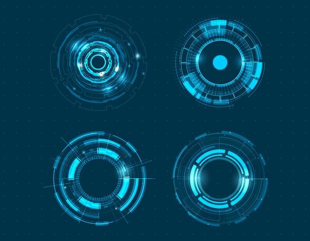 Vector icon set diseño de círculo de tecnología.