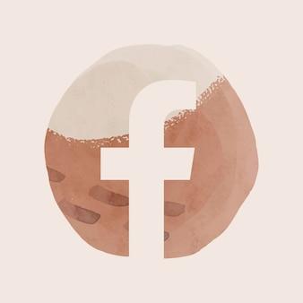 Vector de icono de aplicación de facebook con efecto gráfico de acuarela. 2 de agosto de 2021 - bangkok, tailandia