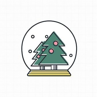 Vector de icono de bola de nieve de navidad
