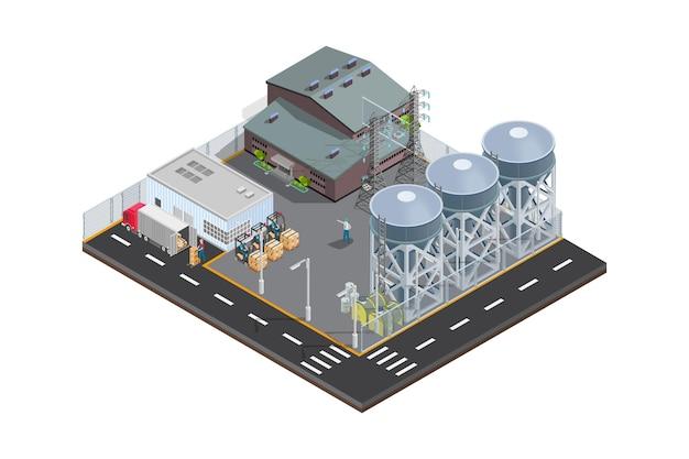 Vector de icono de campo petrolero de ilustración isométrica