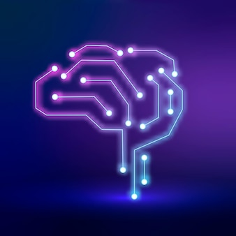 Vector de icono de cerebro de conexión de tecnología ai en concepto de transformación digital púrpura