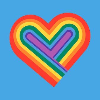 Vector de icono de corazón de arco iris para el mes del orgullo lgbtq