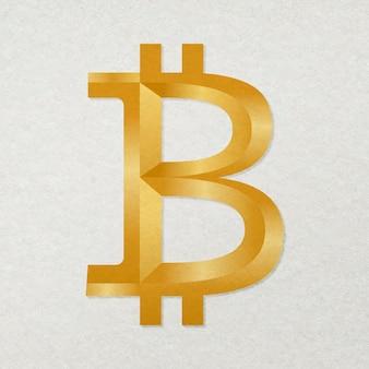 Vector de icono de criptomoneda blockchain de bitcoin en concepto de finanzas de código abierto de oro