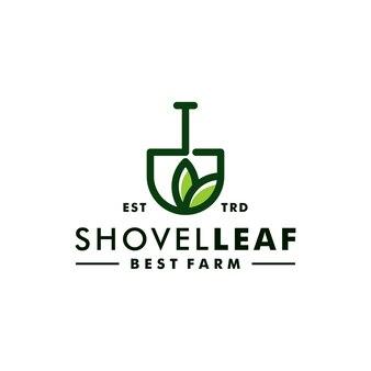 Vector de icono de diseño de granja natural de logotipo de hoja de pala