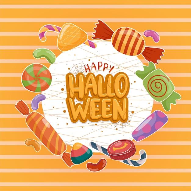 Vector de icono de halloween con caramelos de colores sobre fondo blanco-naranja.