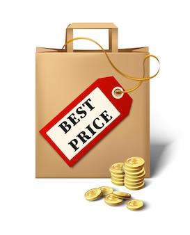 Vector icono de mejor precio con etiqueta de precio de bolsa de papel de dibujos animados y monedas de oro