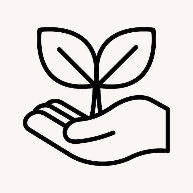 Vector de icono de negocio de planta sostenible en línea simple