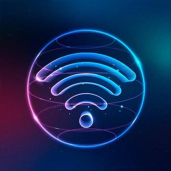 Vector de icono de tecnología de internet inalámbrico en neón sobre fondo degradado