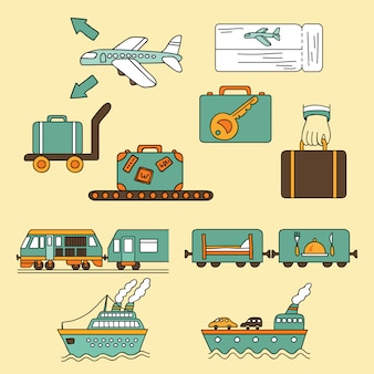 Vector icono de viaje símbolos
