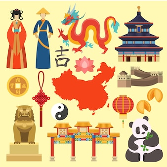 Vector de iconos de china
