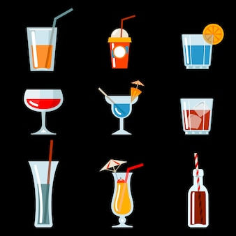 Vector iconos de cóctel para el diseño del menú de cócteles