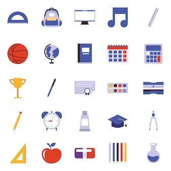 Vector de iconos de dibujos animados de la escuela