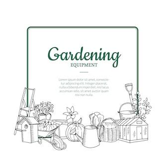 Vector iconos de doodle de jardinería debajo del marco con lugar para ilustración de texto