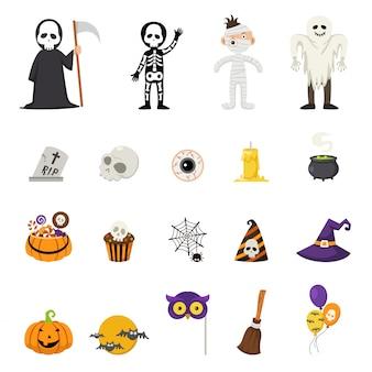 Vector de iconos de halloween