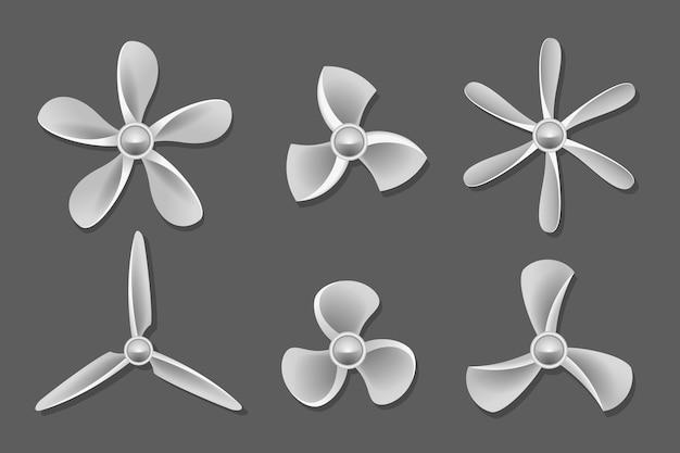 Vector de iconos de hélice. hélice de aire, hélice de ventilador, ventilador y pala, ilustración de soplador de hélice de equipo