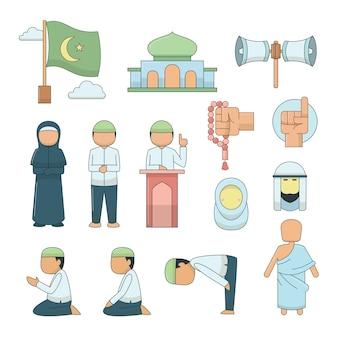 Vector iconos islámicos establecidos.