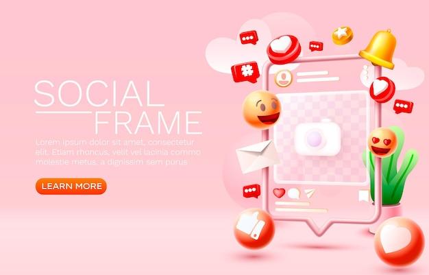 Vector de iconos de mensaje de red de banner de medios de seguidores de marco de fotos social