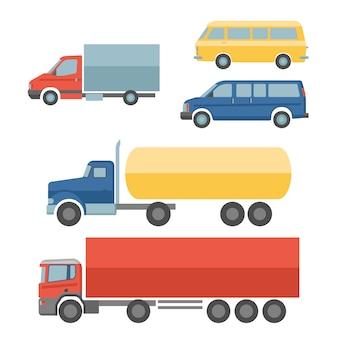 Vector iconos planos de camión de reparto con carga