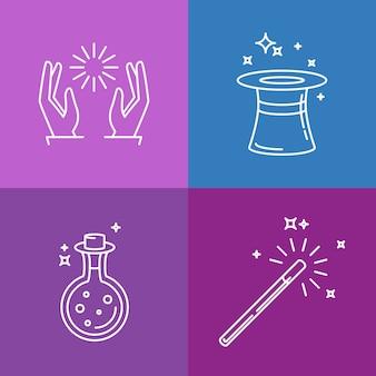 Vector de iconos y signos lineales relacionados con la magia.
